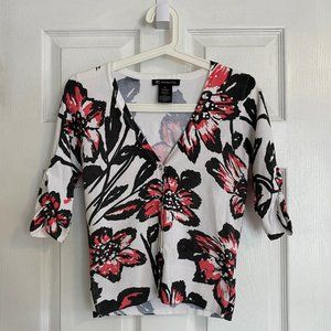 INC White Floral Three-Quarter Sleeve Cardigan